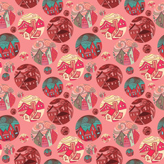 Seamless Pattern With Shots Of Cities In Red Tones