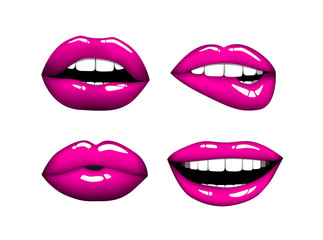 Set or collection of various type of pink lips.