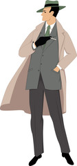 Man, dressed in 1950s fashion, smoking