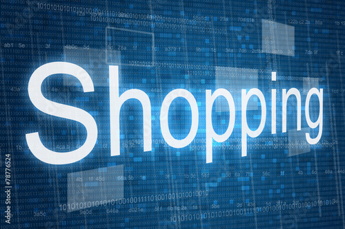 Shopping word on digital background, online shopping consept ...