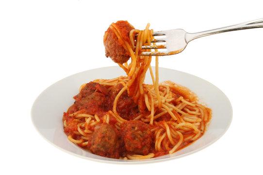 Meatball and spaghetti fork