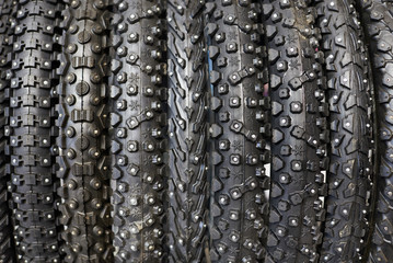 New winter bicycle tires with different tread