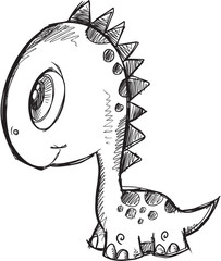 Doodle Sketch Dinosaur Vector Illustration Art