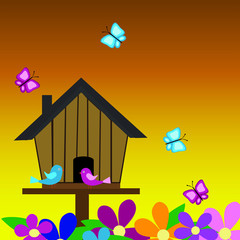 Bird House in the Sunset  with Butterflies and Flowers