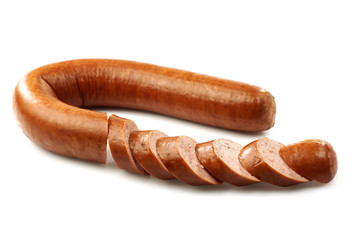 sliced smoked sausage on a white background