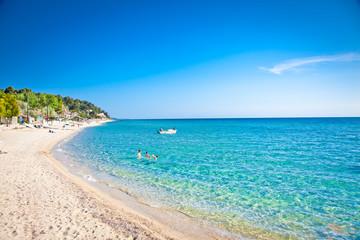 Sani beach on Kassandra peninsula, Halkidiki,  Greece.