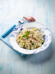 risotto with fresh salmon and zucchinis