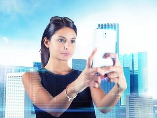 Woman take futuristic pictures