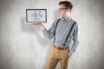 Composite image of geeky businessman showing his laptop