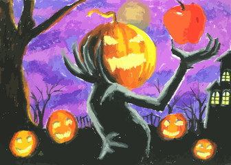 pumpkin devil on halloween day painting  background