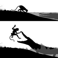 Crocodile and monkey
