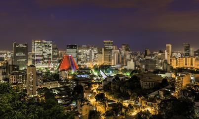Rio de Janeiro skyscrapers by night, Brazil
