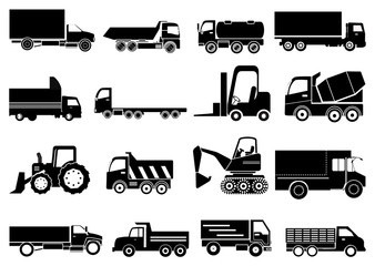 Heavy vehicles icons set