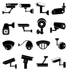 Security camera icons set