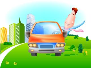 자동차와 비즈니스맨