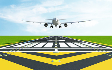 Airplane Landing on Airport Runway. Passenger Airliner