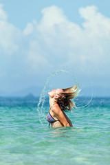The girl in the ocean