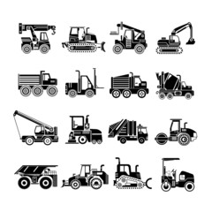 truck icons, heavy construction machinery icons