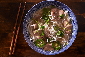 hot bowl of ietnamese pho soup top down