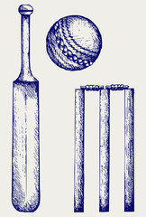Set equipment for cricket. Cricket bat and ball