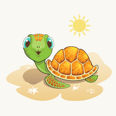 Cute turtle cartoon on the beach