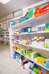 Close up of shelves of drugs