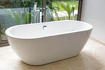 Bathtub in bathroom