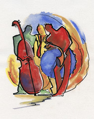 Jazz trio playing music