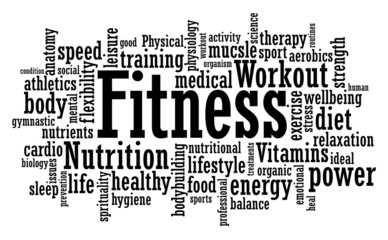 Fitness Word Cloud Illustration