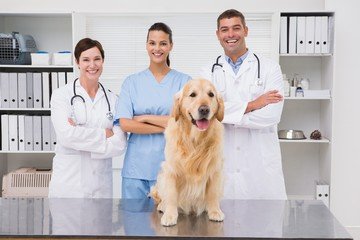 Veterinarian coworker smiling at camera with dog