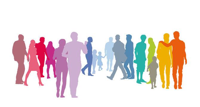 Menschengruppe - Paare in Pastellfarben, Silhouette vektor set Menschen, Gemeinschaft leben, Zukunft gestalten, soziale Gesellschaft, Gemeinwohl schaffen, sozial denken, solidarisch handeln