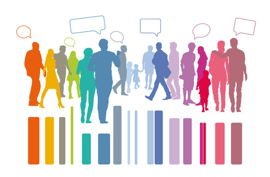 Menschengruppe - Paare mit Sprechblasen, Silhouette, Statistik, gemischte Gesellschaft, homogene Gemeinschaft gestaltet die Zukunft, Bürgerinitiative, Abstimmung