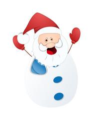 Happy Cute Funny Santa Snowman