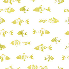 watercolor seamless pattern with fish and with white stroke