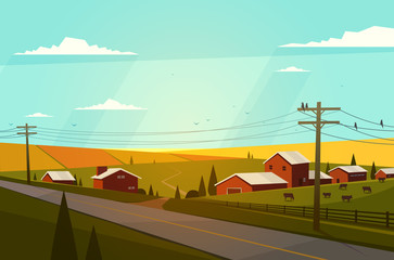 Canvas Print - Rural landscape. Vector illustration.