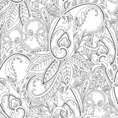 Hand-drawn paisley pattern. Ethnic design. Seamless background
