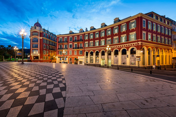 Foto op Canvas Nice Place Massena in Nice at Dawn, France