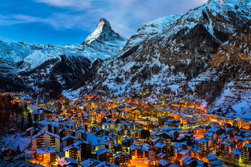 Wall Mural - Aerial View on Zermatt Valley and Matterhorn Peak at Dawn, Switz
