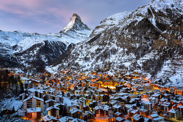 Fototapete - Aerial View on Zermatt Valley and Matterhorn Peak in the Morning