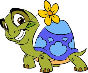 Turtle with a flower in his mouth