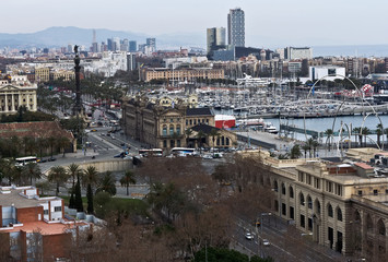 Harbor district with Columbus   in Barcelona, Spain
