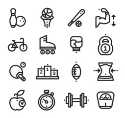 Fitness and Health, sport icons White Background