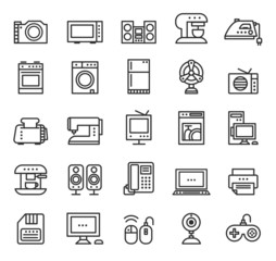 Home appliances and equipment icons vector modern line style