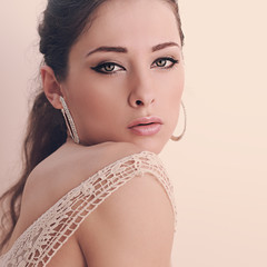Beautiful romantic woman looking passion. Closeup instagram