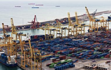Port of Barcelona - logistics port area in Barcelona, Spain.