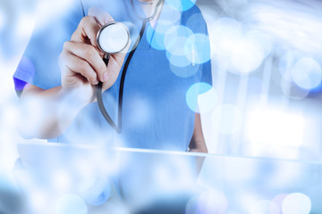 double exposure of success smart medical doctor working with abs