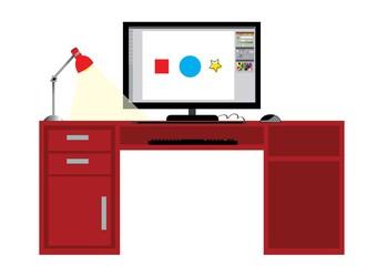 Obraz biurko,ekran, - fototapety do salonu