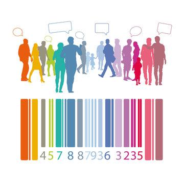 Menschengruppe - Menschen mit Barcode und Sprechblasen, Silhouette, verscheidene Menschen, Mischung der Bevölkerung mit unterschiedlichen Bedürfnissen, Statistik, Erhebung