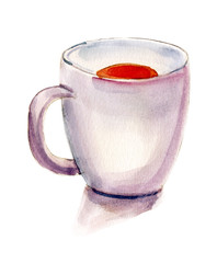 A watercolour drawing of a tea cup