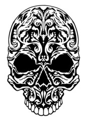 Illustration of a skull with patterns.